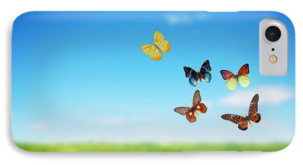 Colorful Buttefly Spring Field Phone Case by Michal Bednarek