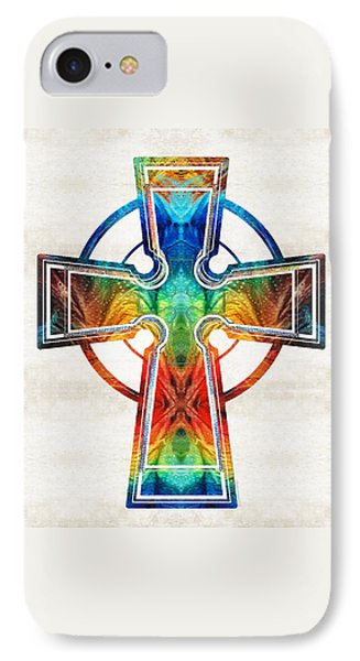 Colorful Celtic Cross By Sharon Cummings IPhone Case by Sharon Cummings