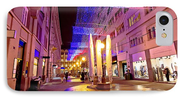 Colorful Christmas Decoration Of Zagreb Street IPhone Case