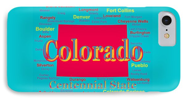 Colorful Colorado State Pride Map Silhouette  IPhone Case by Keith Webber Jr