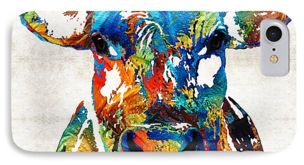 Colorful Cow Art - Mootown - By Sharon Cummings IPhone Case by Sharon Cummings