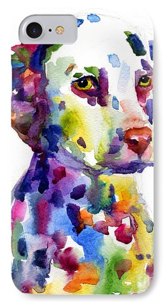 Colorful Dalmatian Puppy Dog Portrait Art IPhone 7 Case by Svetlana Novikova