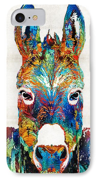 Colorful Donkey Art - Mr. Personality - By Sharon Cummings IPhone 7 Case by Sharon Cummings