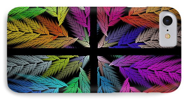 Colorful Feather Fern - 4 X 4 - Abstract - Fractal Art - Square Phone Case by Andee Design