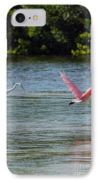 Colorful Flight Of The Spoonbill IPhone Case by Natural Focal Point Photography