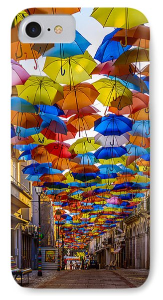 Colorful Floating Umbrellas IPhone Case by Marco Oliveira