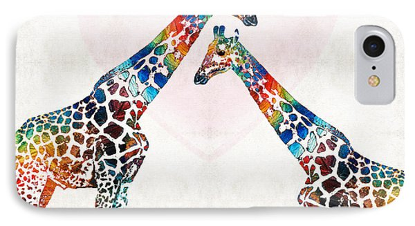 Colorful Giraffe Art - I've Got Your Back - By Sharon Cummings IPhone 7 Case by Sharon Cummings