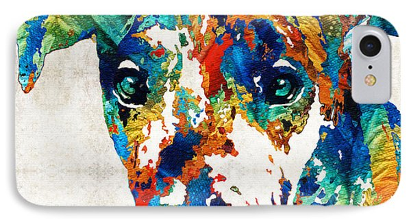 Colorful Great Dane Art Dog By Sharon Cummings IPhone Case by Sharon Cummings