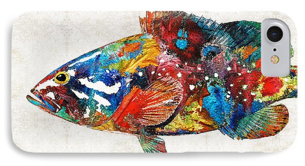 Colorful Grouper Art Fish By Sharon Cummings IPhone Case by Sharon Cummings