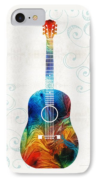 Colorful Guitar Art By Sharon Cummings IPhone Case by Sharon Cummings