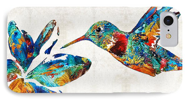 Colorful Hummingbird Art By Sharon Cummings IPhone Case by Sharon Cummings
