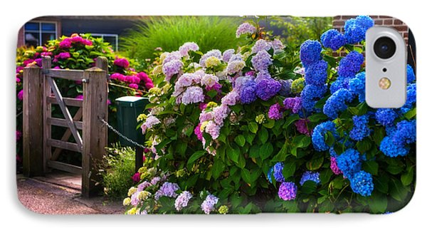 Colorful Hydrangea At The Gate. Giethoorn. Netherlands IPhone Case by Jenny Rainbow