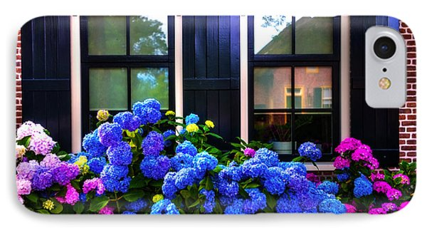 Colorful Hydrangea At The Windows. Giethoorn. Netherlands IPhone Case by Jenny Rainbow