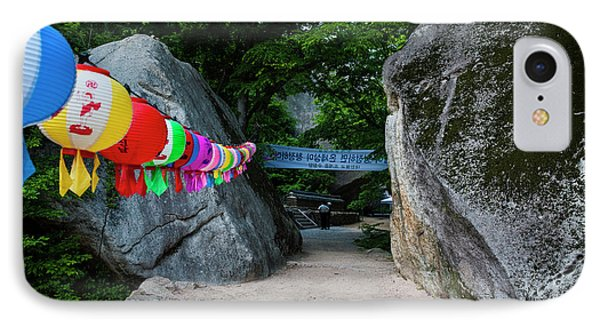 Colorful Lanterns In A Rock Alley IPhone Case by Michael Runkel