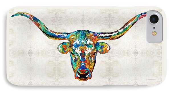 Colorful Longhorn Art By Sharon Cummings IPhone Case by Sharon Cummings