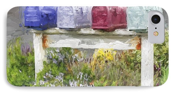 Colorful Mailboxes And Flowers Painterly Effect IPhone Case