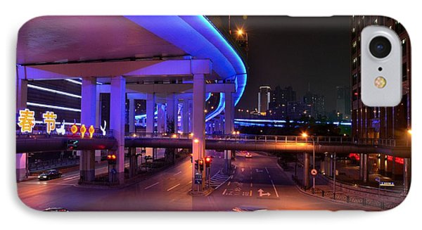 Colorful Night Traffic Scene In Shanghai China IPhone Case by Imran Ahmed