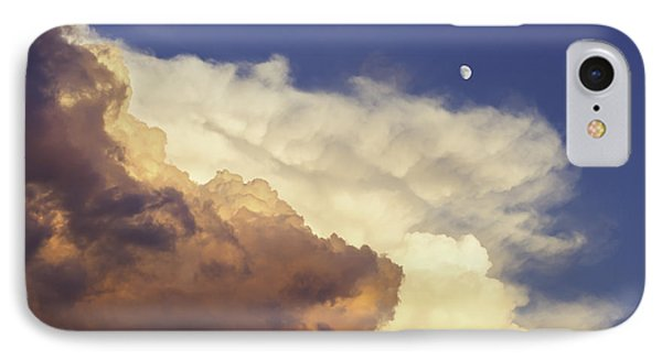 Colorful Orange Magenta Storm Clouds Moon At Sunset Phone Case by Keith Webber Jr