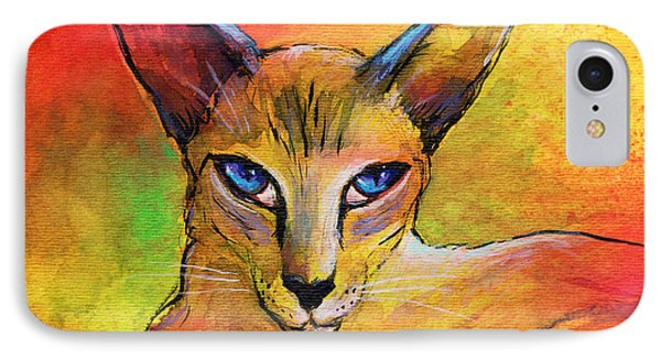 Colorful Oriental Shorthair Cat Painting IPhone Case by Svetlana Novikova