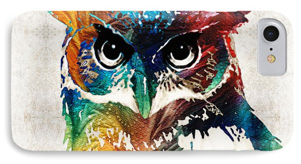 Colorful Owl Art - Wise Guy - By Sharon Cummings IPhone Case by Sharon Cummings