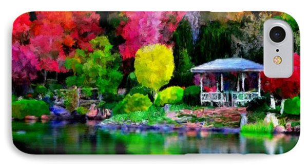 IPhone Case featuring the painting Colorful Park At The Lake by Bruce Nutting