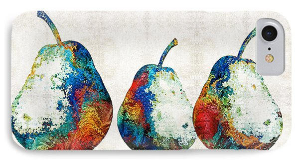 Colorful Pear Art - Three Pears - By Sharon Cummings IPhone Case