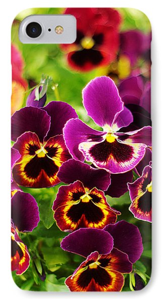 IPhone Case featuring the photograph Colorful Purple Pansies by Suzanne Powers