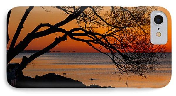 Colorful Quiet Sunrise On Lake Ontario In Toronto Phone Case by Georgia Mizuleva