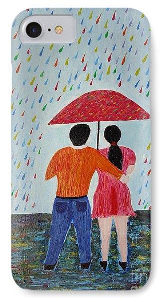 Colorful Rain Phone Case by Jnana Finearts