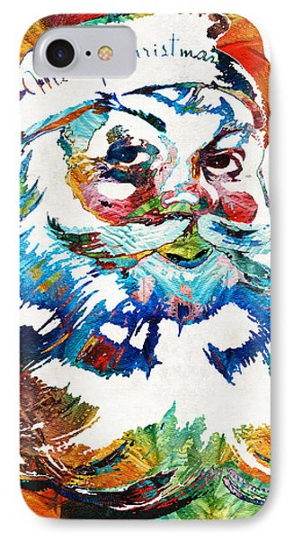 Colorful Santa Art By Sharon Cummings IPhone Case by Sharon Cummings