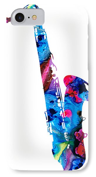 Colorful Saxophone 2 By Sharon Cummings IPhone 7 Case by Sharon Cummings