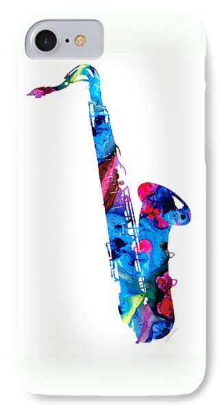 Music iPhone 7 Case - Colorful Saxophone 2 By Sharon Cummings by Sharon Cummings