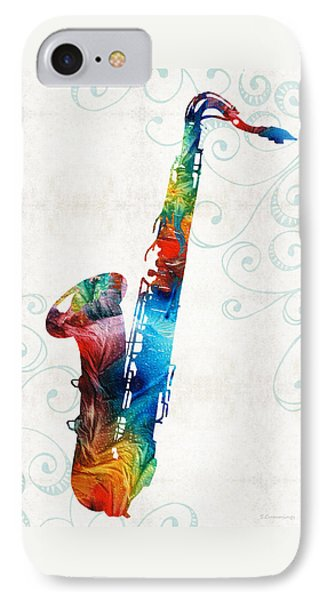 Colorful Saxophone 3 By Sharon Cummings IPhone Case by Sharon Cummings