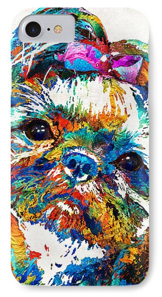 Colorful Shih Tzu Dog Art By Sharon Cummings IPhone Case by Sharon Cummings