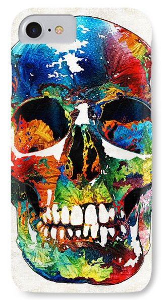 Colorful Skull Art - Aye Candy - By Sharon Cummings IPhone Case by Sharon Cummings