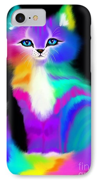 Colorful Striped Rainbow Cat IPhone Case by Nick Gustafson