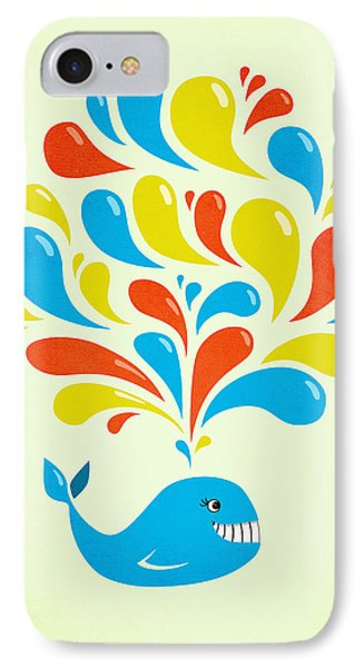 Colorful Swirls Happy Cartoon Whale IPhone Case