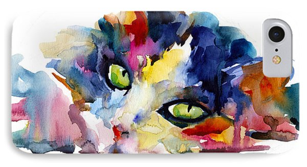Colorful Tubby Cat Painting IPhone 7 Case by Svetlana Novikova