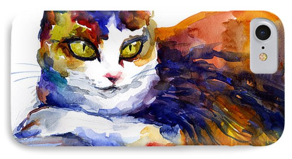 Colorful Watercolor Cat On A Tree Painting IPhone Case by Svetlana Novikova