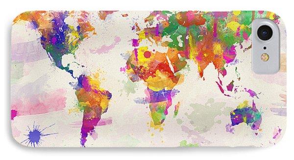 Colorful Watercolor World Map Phone Case by Zaira Dzhaubaeva