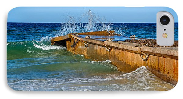 Colorful Waves Around Old Pier Phone Case by Kaye Menner