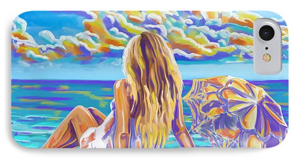 Colorful Woman At The Beach IPhone Case by Tim Gilliland