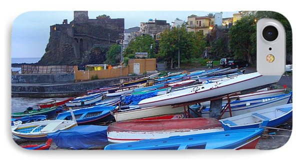 Colorful Wooden Fishing Boats Of Aci Castello Sicily With 11th Century Norman Castle Phone Case by Jeff at JSJ Photography