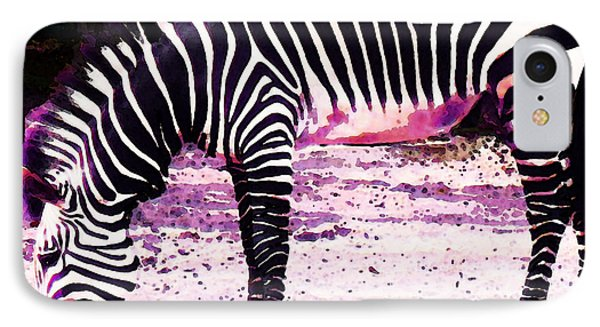 Colorful Zebra 2 - Buy Black And White Stripes Art IPhone Case by Sharon Cummings