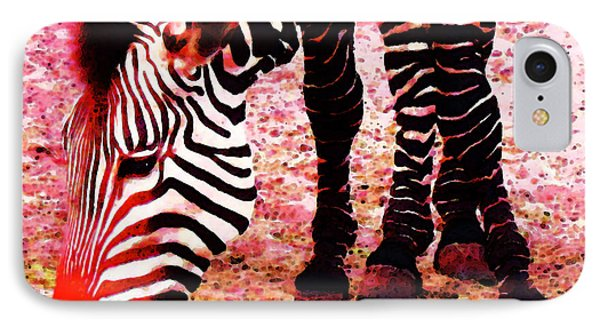 Colorful Zebra - Buy Black And White Stripes Art IPhone Case by Sharon Cummings