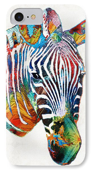 Colorful Zebra Face By Sharon Cummings IPhone Case by Sharon Cummings