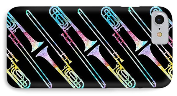 Colorwashed Trombones IPhone 7 Case by Jenny Armitage