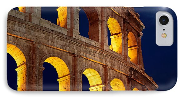 Colosseum And Moon IPhone Case by Inge Johnsson