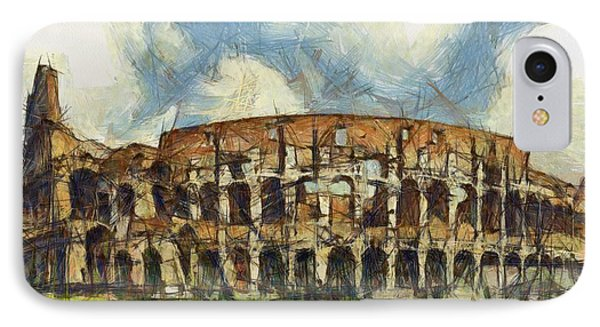 Colosseum Pencil Phone Case by Sophie McAulay