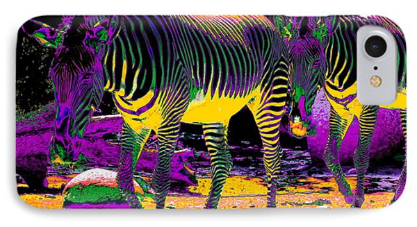 Colourful Zebras  Phone Case by Aidan Moran